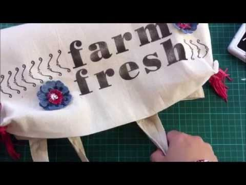 Stamping on fabric with permanent inks + Stampin Up stamps (DIY personalized shopping bag)