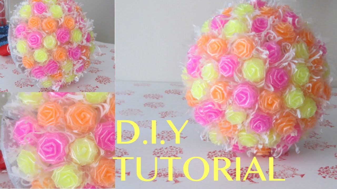 D.I.Y TUTORIAL: MAKING FLOWER TOPIARY W. CUTE STRAW ROSES