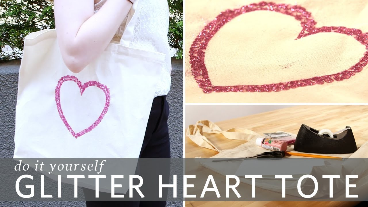 DIY Glitter Heart Tote