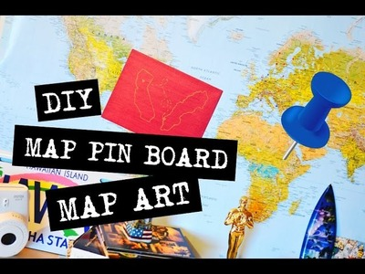 DIY Map pin cork board & map outline art