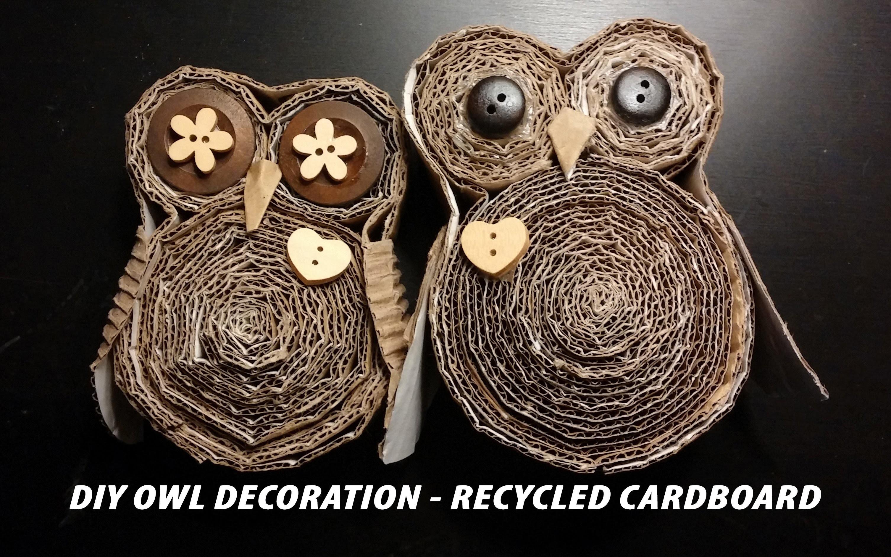 DIY Owl Decoration - Recycled Cardboard