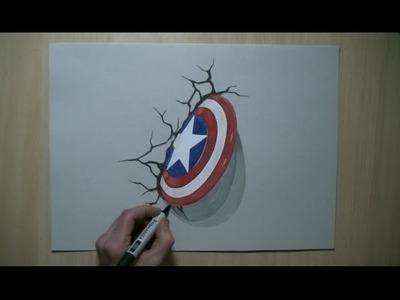 Drawing 3D shield - Captain America, Trick Art