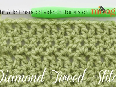 How to Crochet: Diamond Tweed Stitch (Left Handed)