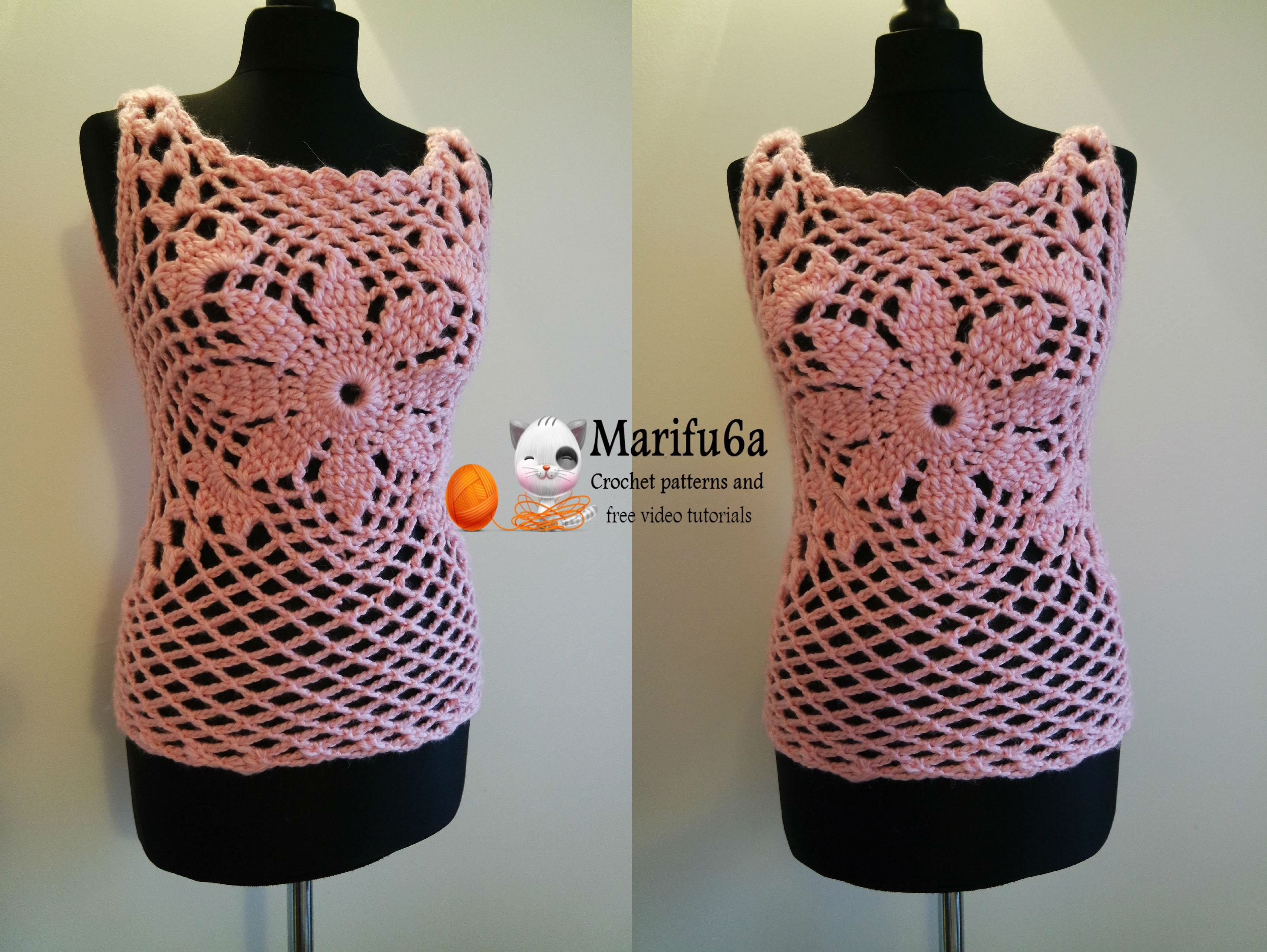 How to crochet pink quickly top free tutorial pattern by marifu6a