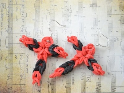2 Steps Tutorial to Make Simple Rubber Band Cross Earrings without a Loom