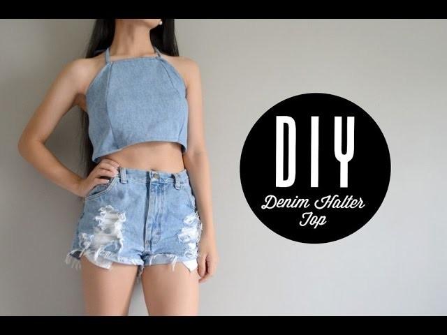 DIY Denim Halter Top | Injoyy