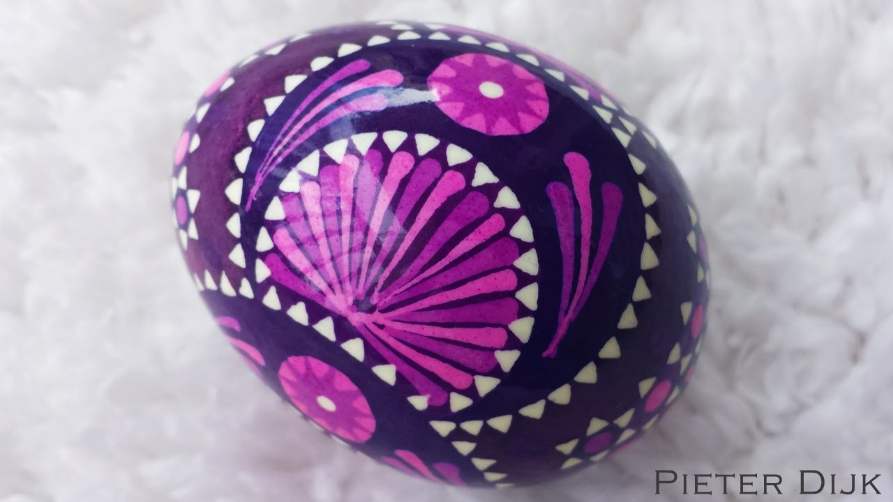 DIY Egg Art Tutorial - Sorbian Eggs - by Egg Artist Pieter Dijk (German Germany Feather Easter Wax)