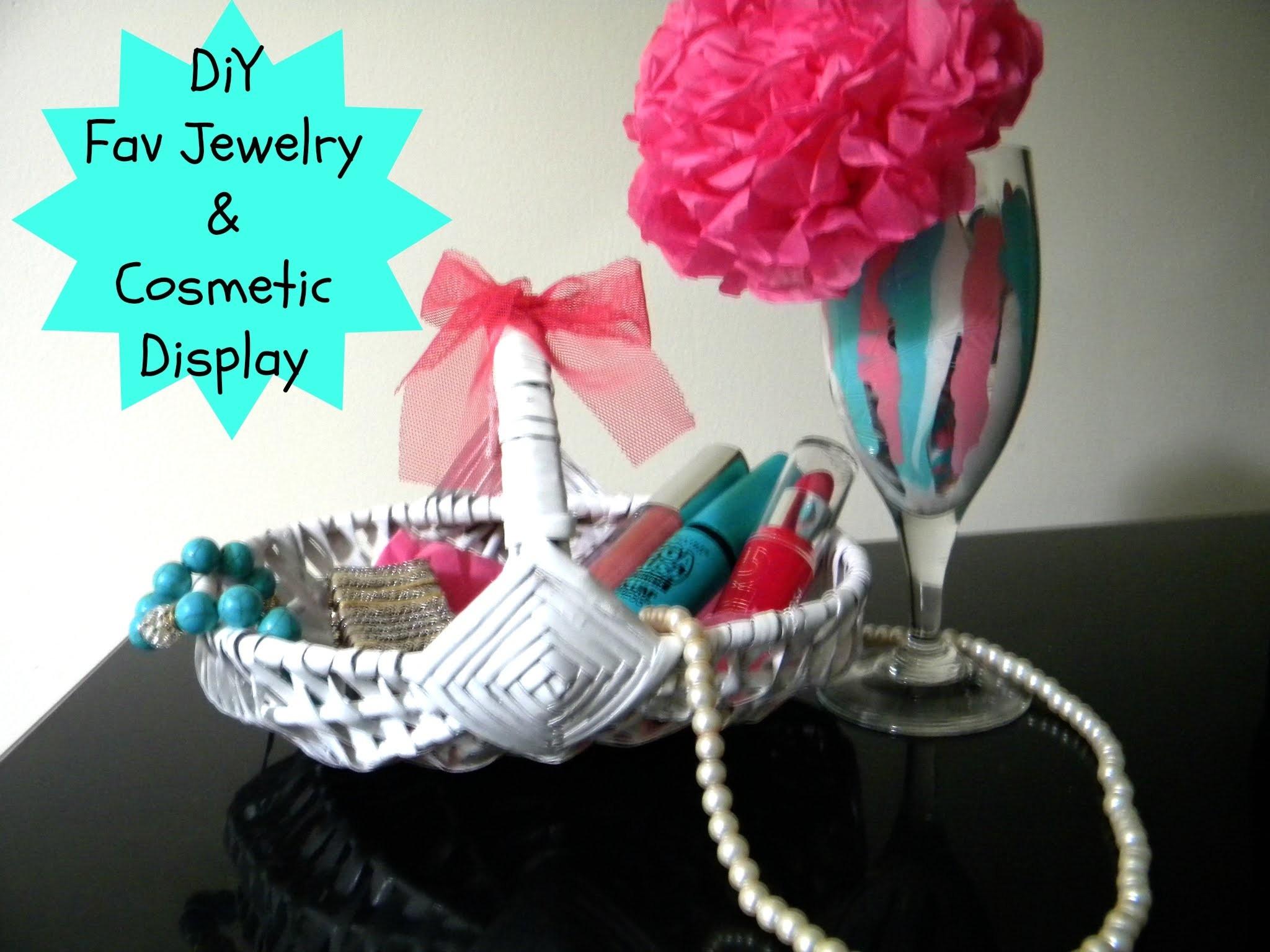 DIY Fav Jewelry & Cosmetics Display. Wine glass decor