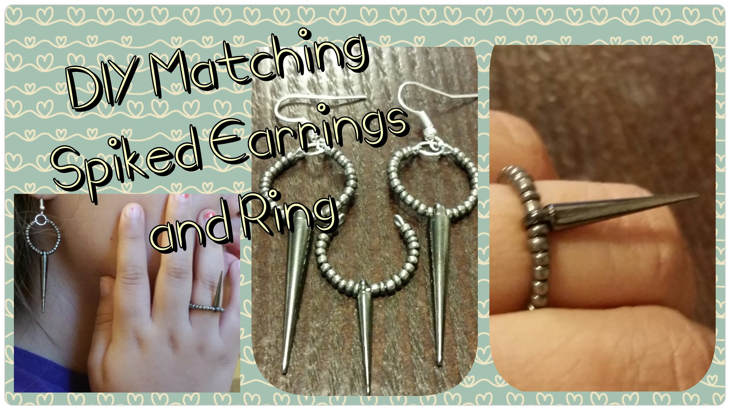 DIY Matching Spiked Earrings and Adjustable Ring