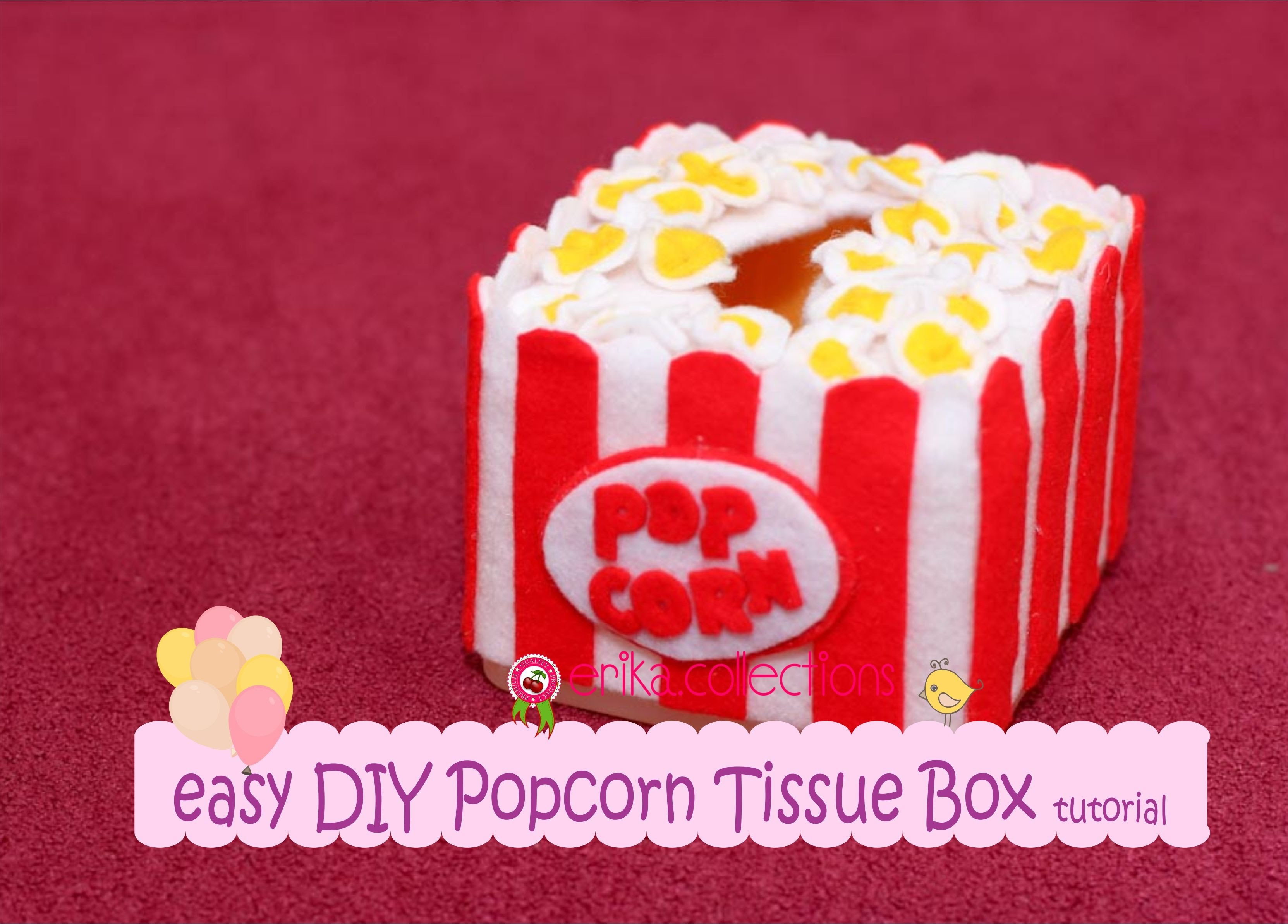 Easy DIY Popcorn tissue box Tutorial - Erika Felt. Flanel Craft