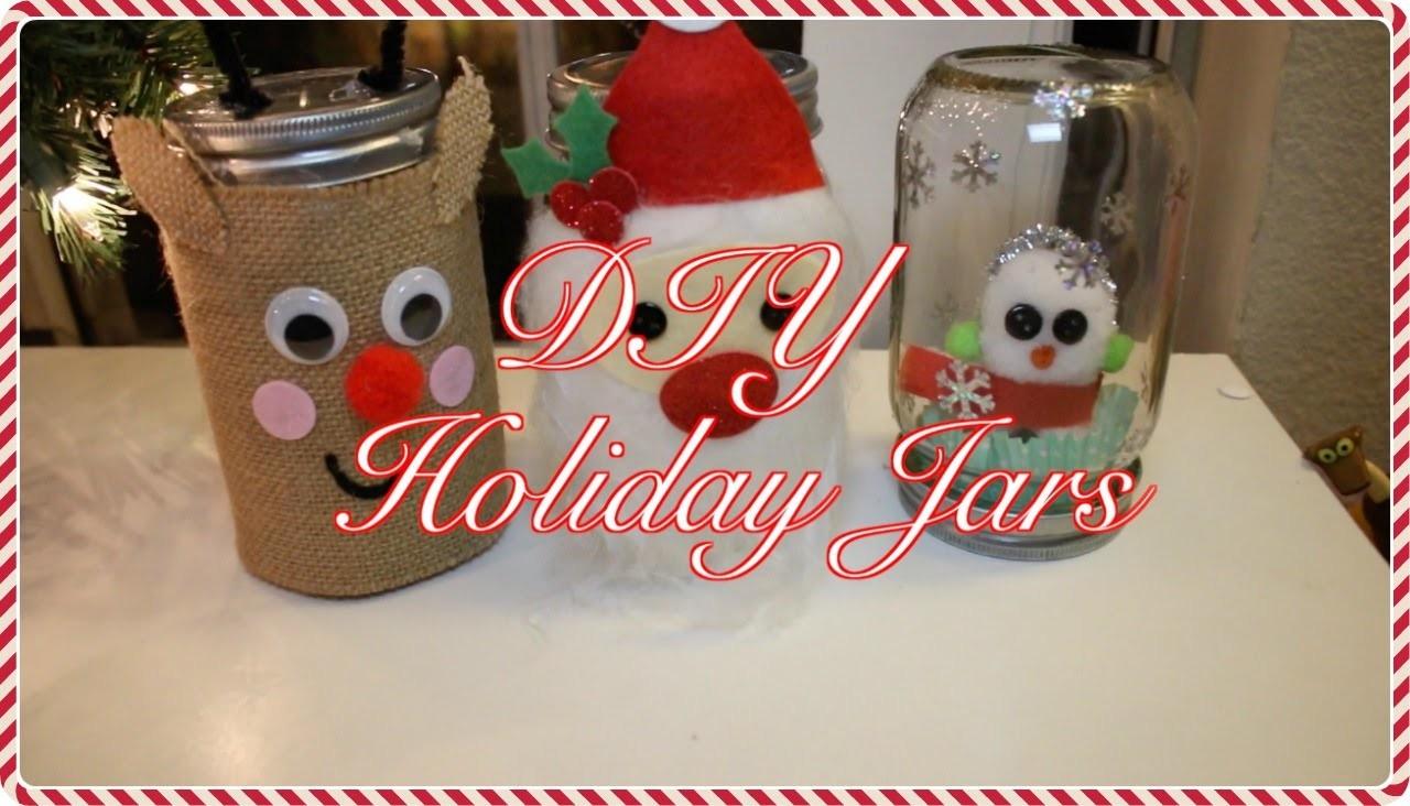 Holiday DIY Jars, Santa Claus, Rudolph, and Snowman |Vlogmas day 20