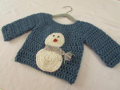 How to crochet a children's chunky Christmas jumper. sweater - snowman jumper
