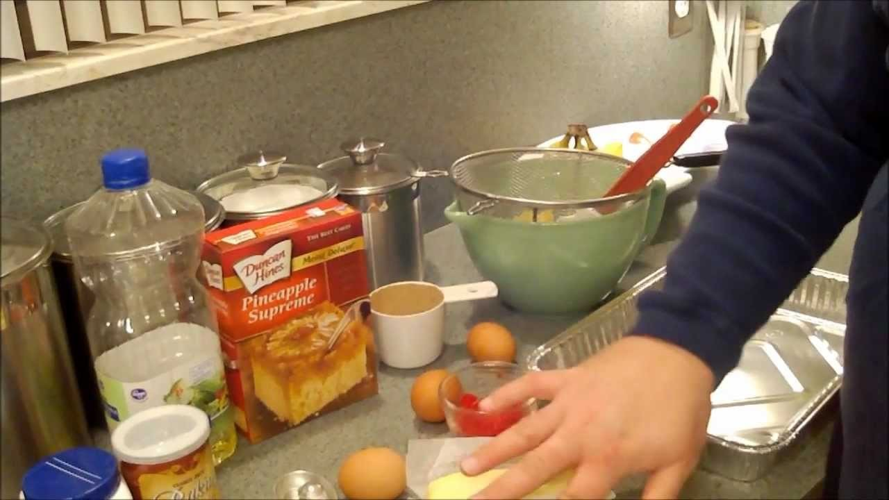 Making Pineapple Upside Down Cake.wmv