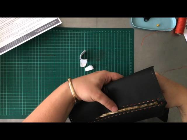 Sew along with the Hammered leatherworks tutorial DIY kit for the Travel Wallet.