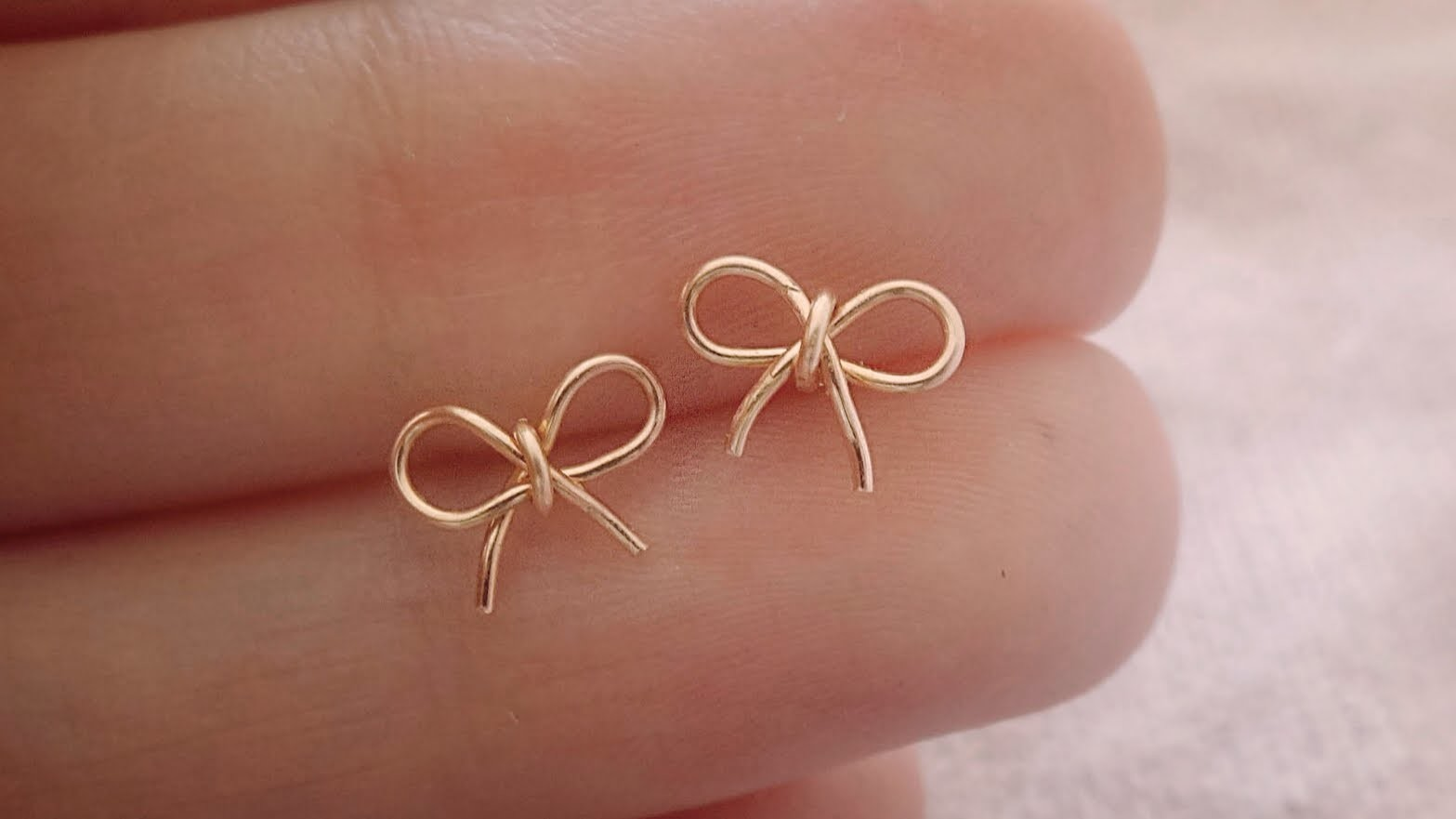 Tiny Bow Studs | No Soldering | Wire Jewelry