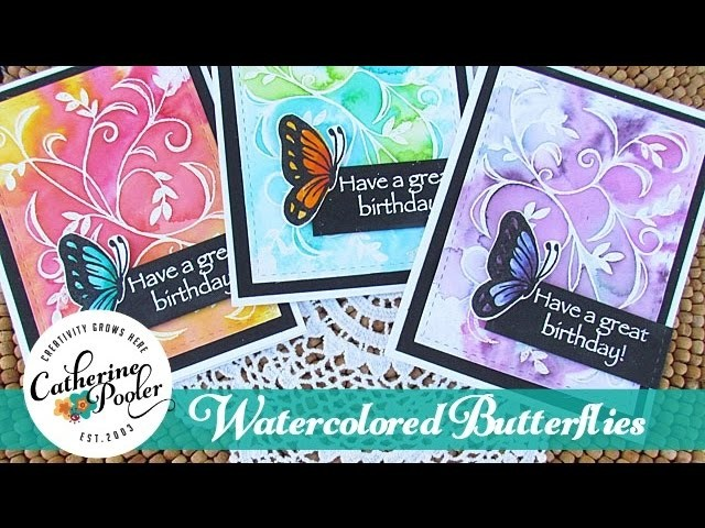 Watercolored Butterflies - Zig Markers, Distress Markers and Spectrum Noir Markers