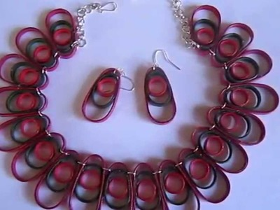 Free Form Quilling - Three Ovals Necklace and Earrings (FAH0236) - Not Tutorial