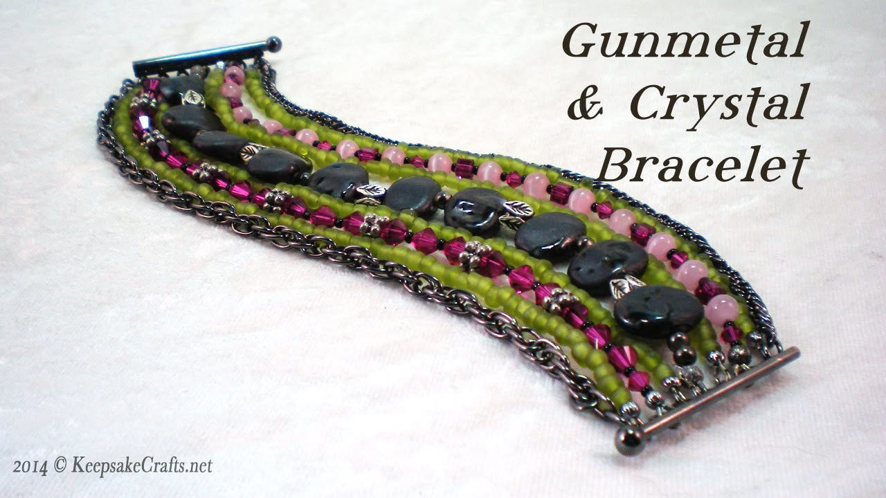 Gunmetal & Crystal Bracelet Tutorial