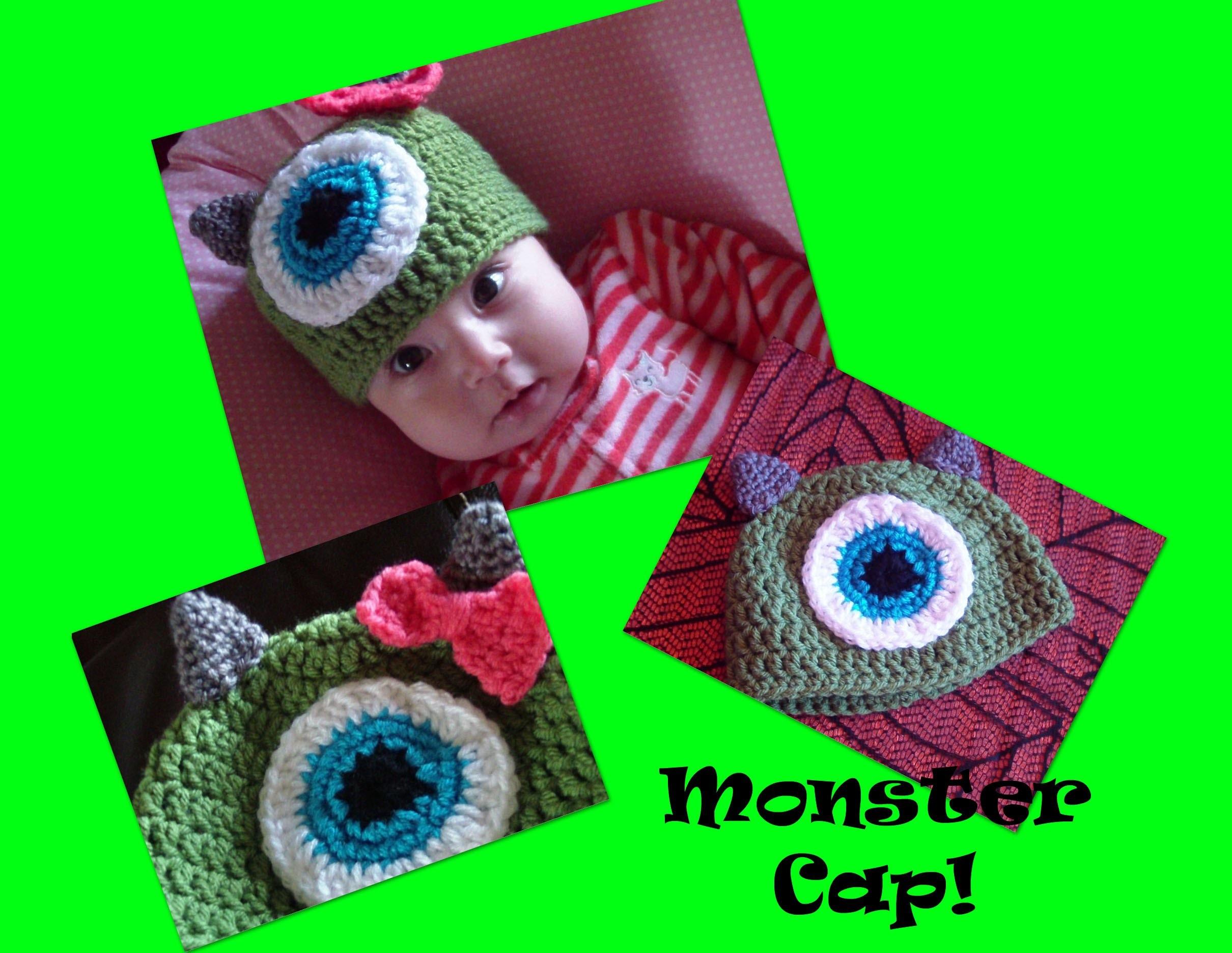 """""""Monster"""" Crocheted Cap (Infant)! Full Tutorial!!!"""