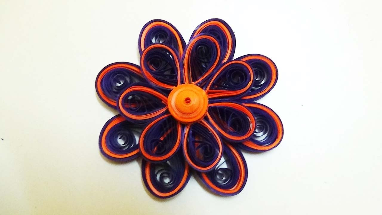 Paper Quilling: Tutorial - orange and purple - 3d quilling flower