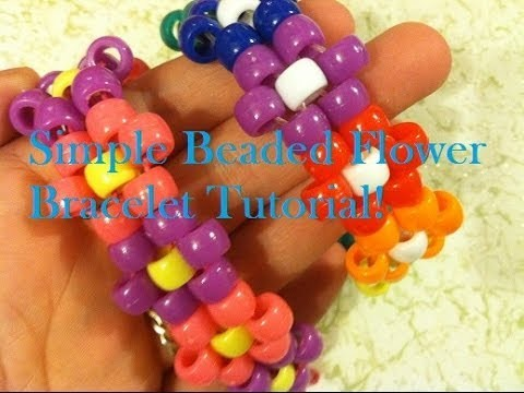Simple Beaded Flower Bracelet Tutorial!