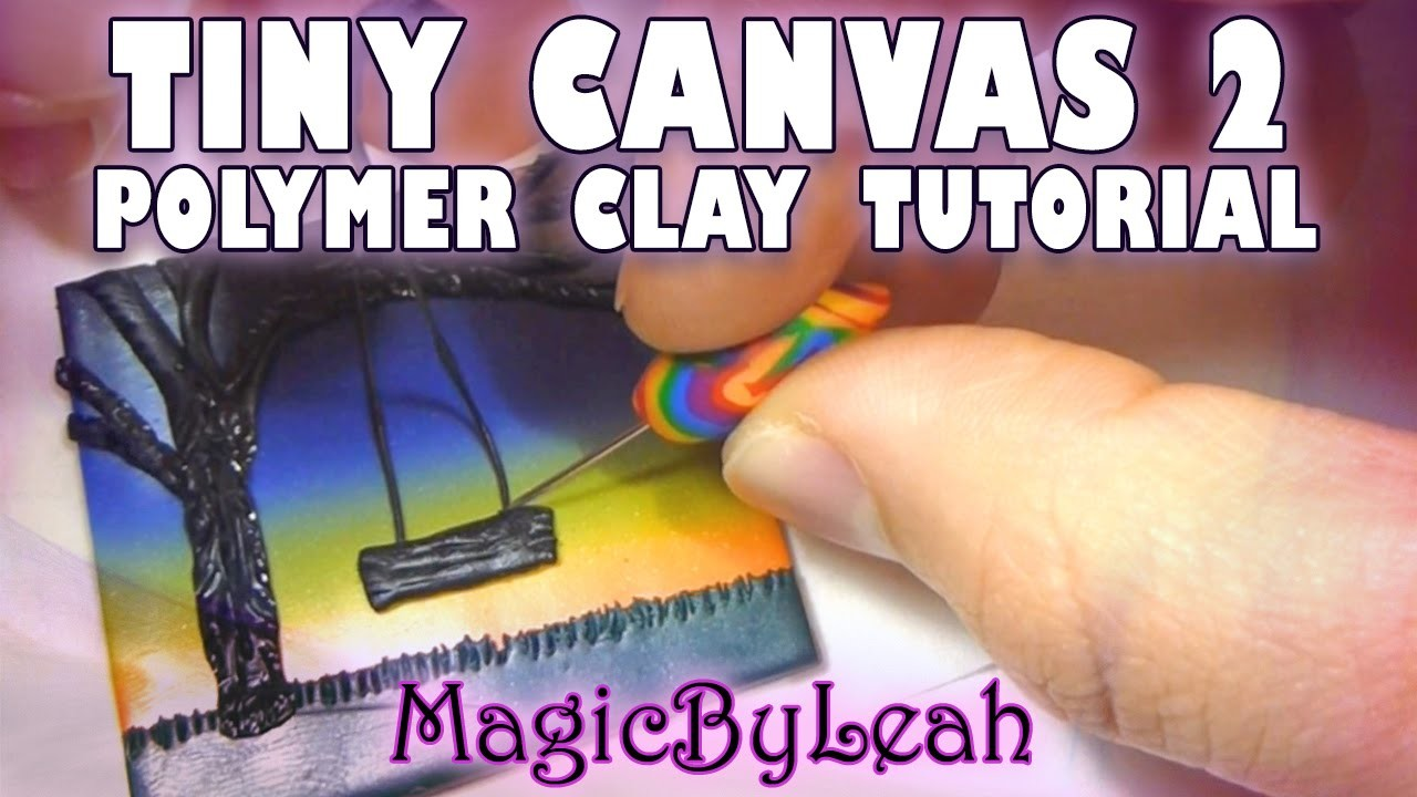 Tiny Canvas Polymer Clay Tutorial Tree Swing at Night