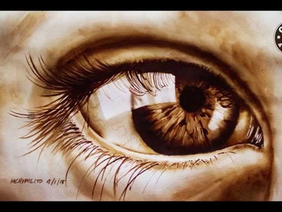 Coffee Painting Tutorial: How to Paint a Realistic Eye using instant coffee