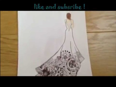 ♥drawing tutorial♥ how to draw a girl with a zentangle dress