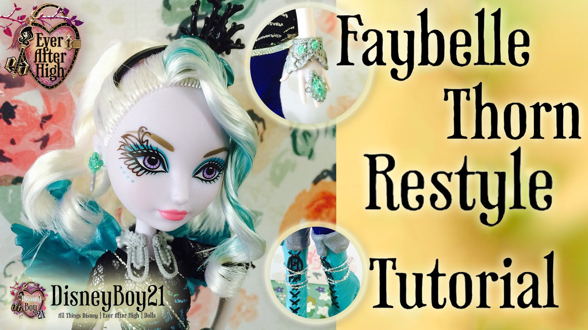 How To Curl Doll Hair Tutorial - Faybelle Thorn Restyle & Repaint | Ever After High