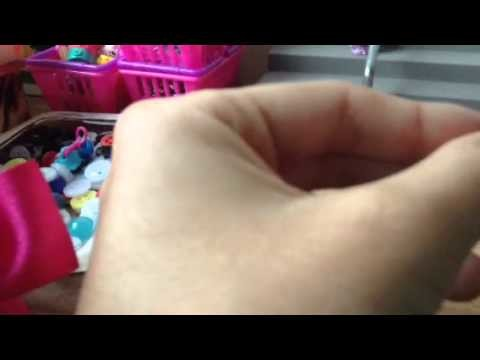 Loom band tutorial Doll hair band with pony beads