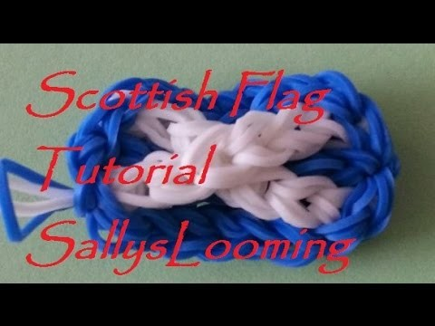 Scottish Flag (St. Andrews Cross) Charm Loom Band Tutorial