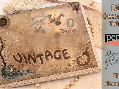 Decoupage tutorial - Mixed media vintage decoration