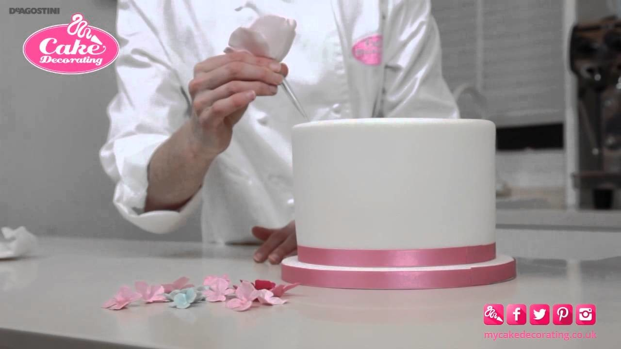 How to Stick Flowers.Ribbon onto a Cake - Cake Decorating Tutorial