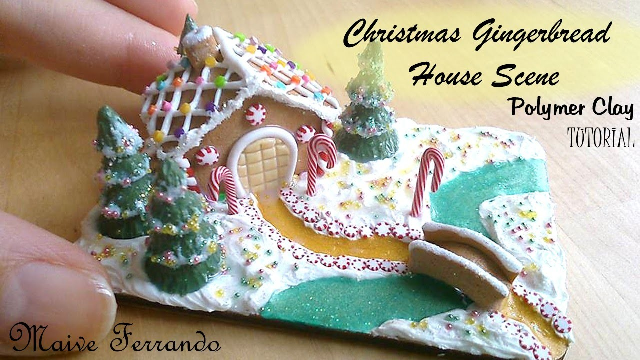 Miniature Polymer Clay Christmas Gingerbread House Scene TUTORIAL