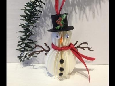 Paper Snowman Ornament Tutorial