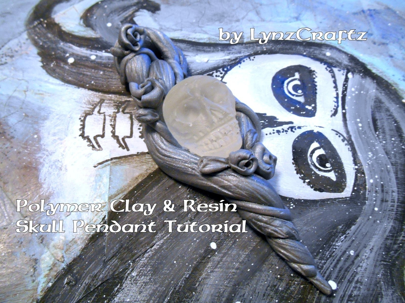 Polymer clay & resin skull pendant tutorial final