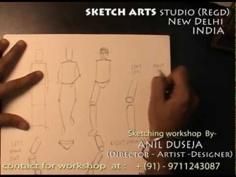 Sketching tutorial part 15, sketching workshop for India & Abroad, how to draw human figure 3