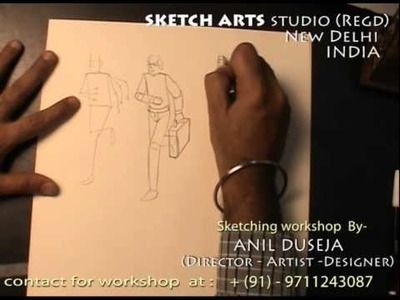 Sketching tutorial part 18, sketching workshop for India & Abroad, how to draw human figure 6