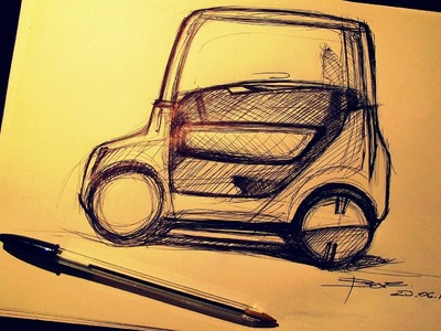 Car Sketch tutorial by Luciano Bove: Citycar side V.