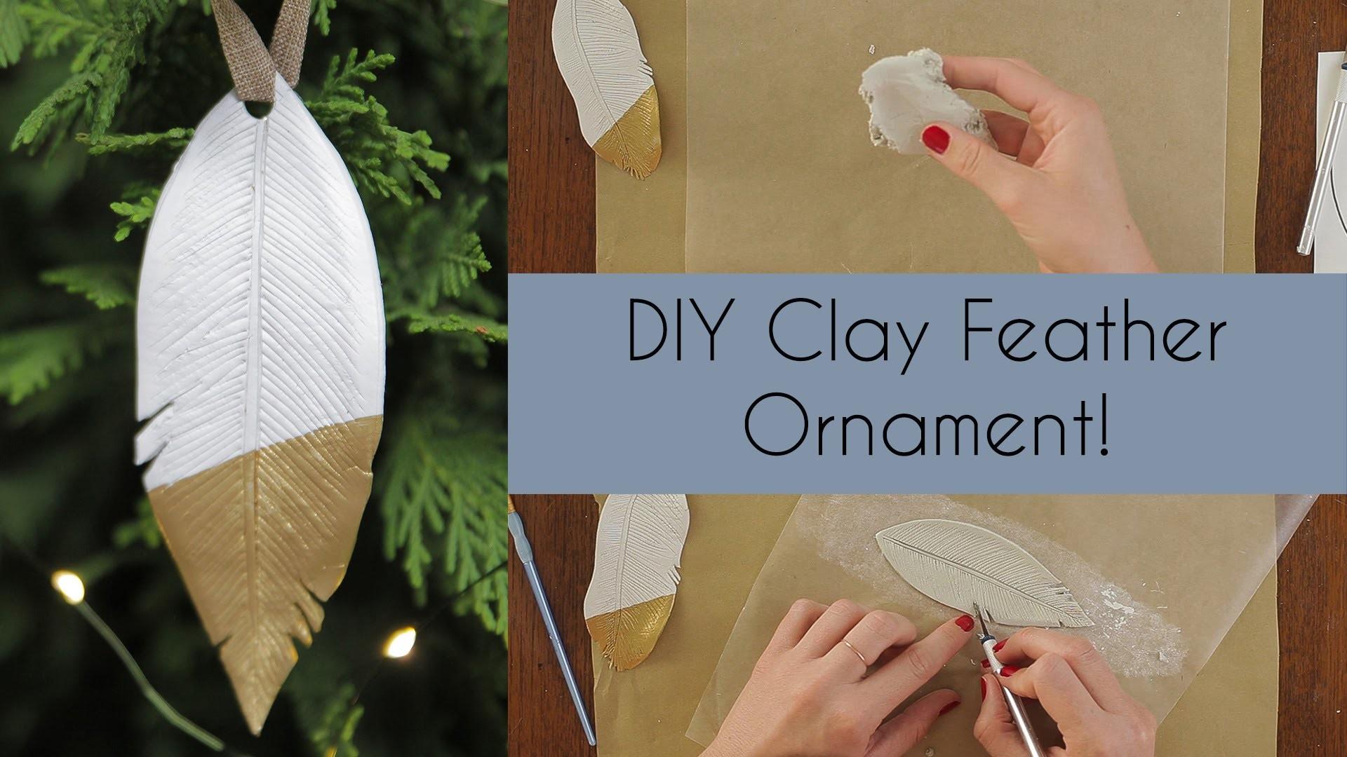 DIY Clay Feather Ornament
