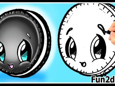 How to Draw Cute Cartoons - Oreo Cookie - Kawaii Food Desserts Tutorial - Fun2draw Art