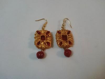 How to make terracotta earrings (4) | Clay earrings making tutorial