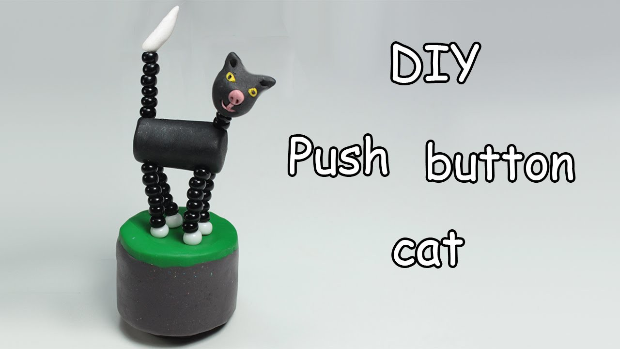 Push button cat - Muñeco a presión - Fimo tutorial