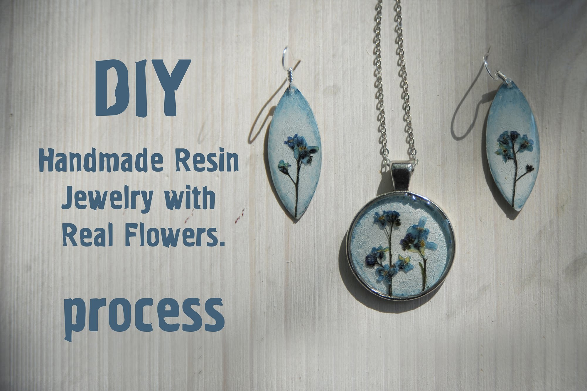 Resine tutorial: earrings and necklace  with  real flowers