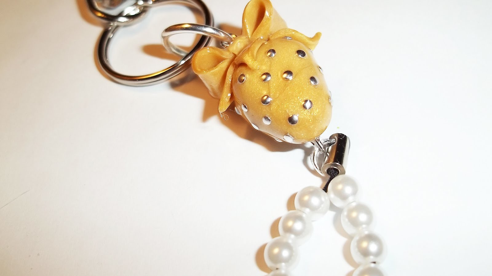 Simple and Cute Golden Strawberry Charm (with Pearls and a Bow) ~ Polymer Clay Tutorial