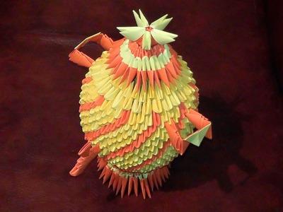 3D origami kettle (samovar, teapot, kirigami) tutorial