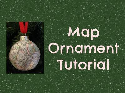 Cute Map Christmas Ornament Tutorial - Easy to make!