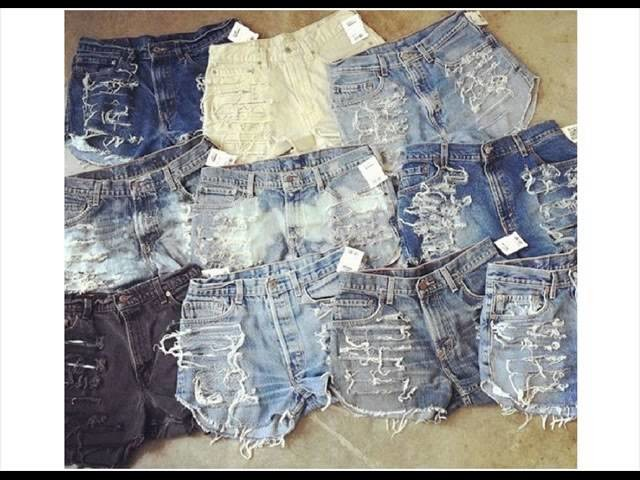 Diy denim shorts with lace