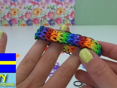 DIY inspiration, loom band triple single rainbow armband,