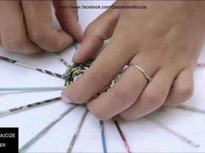 Gazeteden Küpe yapımı.TUTORIAL Earrings _ kolczyki - YouTube